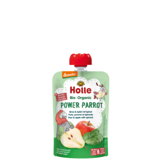 Holle Power Parrot BIO tasak, körte-alma-spenót, 100g