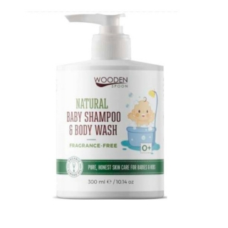 Wooden Spoon Natural BIO baba sampon és tusfürdő, illatmentes, 300ml